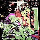 New York City graffiti and fruit stand retro grunge style by Marianne Campolongo