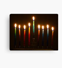 Hanukkah Lights Last Night Canvas Print
