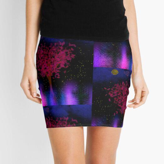 Tree of Light and Night Sky Mini Skirt