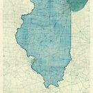 Illinois Map Blue Vintage by HubertRoguski