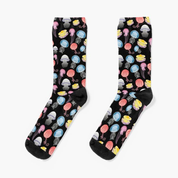 Jellyfishes of the Mediterranean Sea illustration with colorful pattern of jellyfishes on black background decor Socks