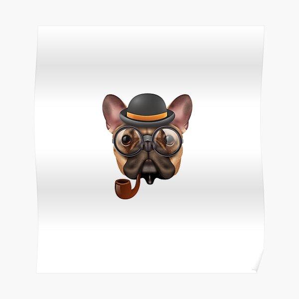 Funny Bulldog smoking pipe Poster