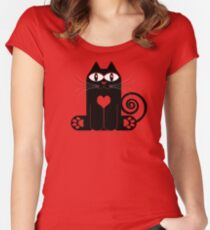 LOVE CAT Women's Fitted Scoop T-Shirt