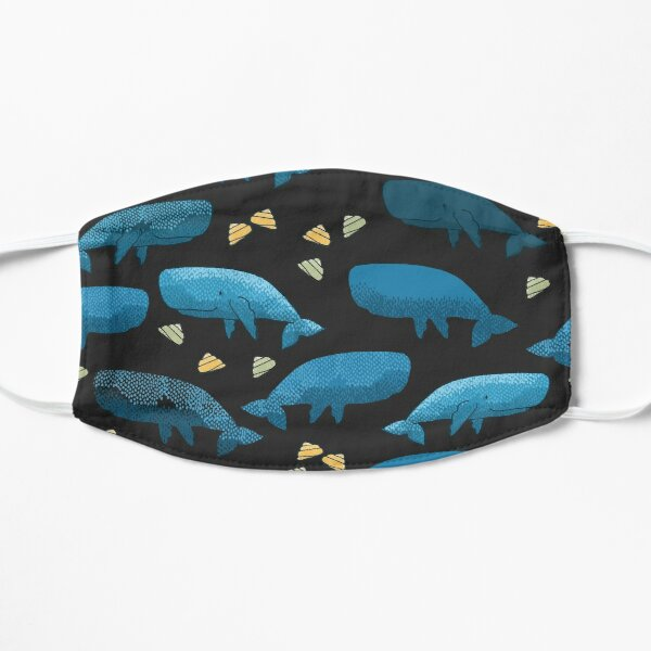 Blue whales illustration with pattern of whales and yellow seashells on black background Mask