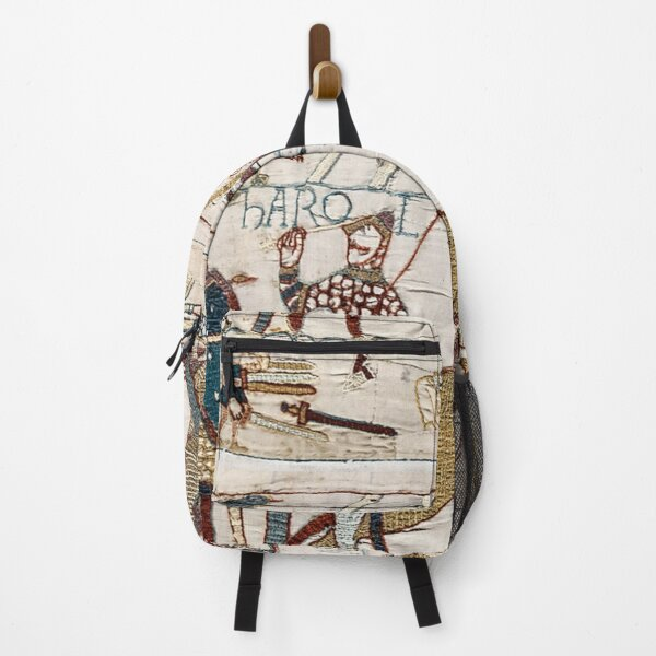 Bayeux Tapestry. King Harold is killed. Arrow in eye. Backpack