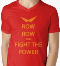 ROW ROW and FIGHT THE POWER (orange) Men's V-Neck T-Shirt