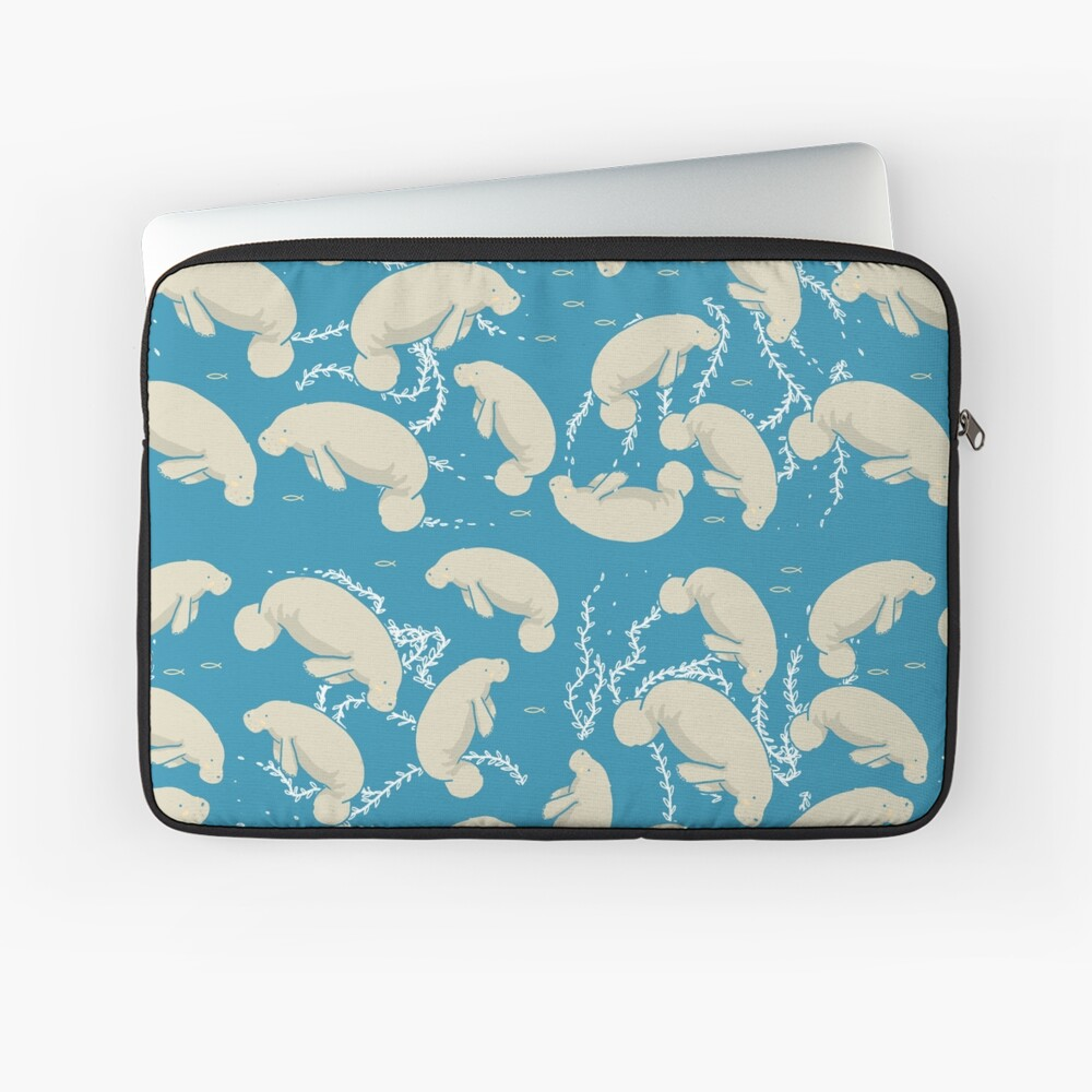 Lamentino the manatee pattern - lots and lots of manatees on teal blue background with yellow fishes and seaweeds  Laptop Sleeve