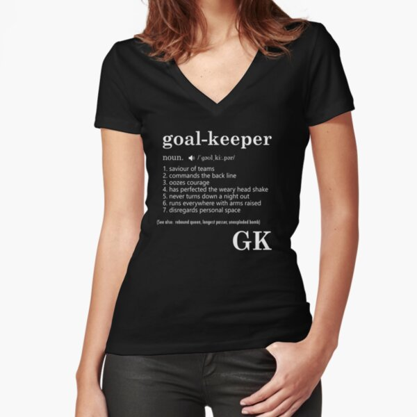 Netball goal keeper position fun tee Fitted V-Neck T-Shirt