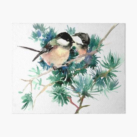 Chickadee Birds in The forest Art Board Print