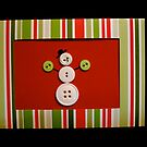 Snowman Christmas Card - Handmade with Buttons by Rebecca Rees