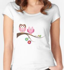 Couple owls Women's Fitted Scoop T-Shirt