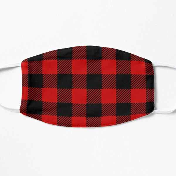 Red plaid pattern Flat Mask