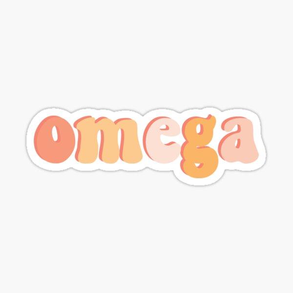 Retro Pink Omega Greek Letter Sticker Sticker