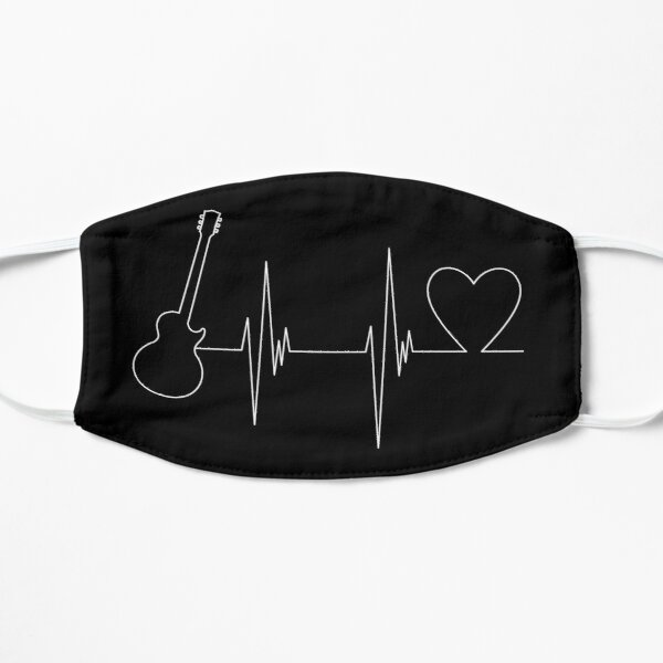 Electric Guitar Heartbeat Silhouette Mask
