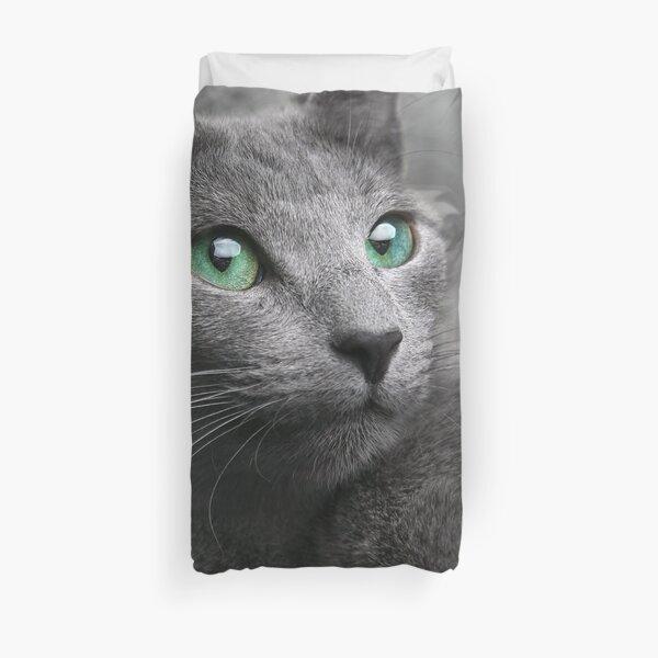 gray cat blue eyes Duvet Cover