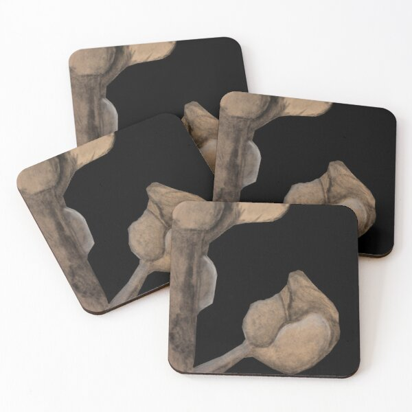 Flower drawing with black background Coasters (Set of 4)