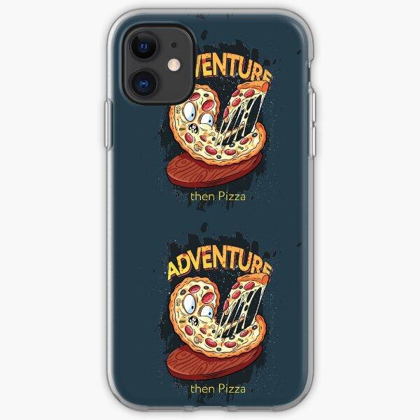Adventure then pizza   emoji slice   fast food art iPhone Soft Case