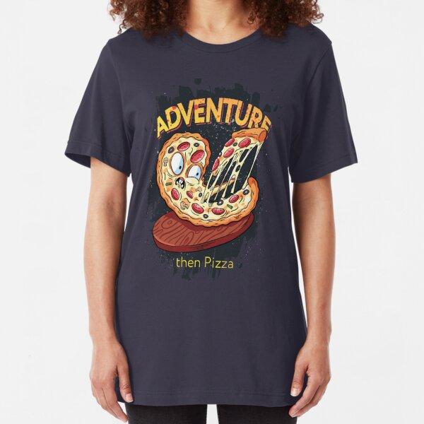 Adventure then pizza | emoji slice | fast food art Slim Fit T-Shirt
