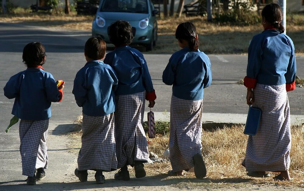 Girls walking to school, Punakha Bhutan by LeighBlake