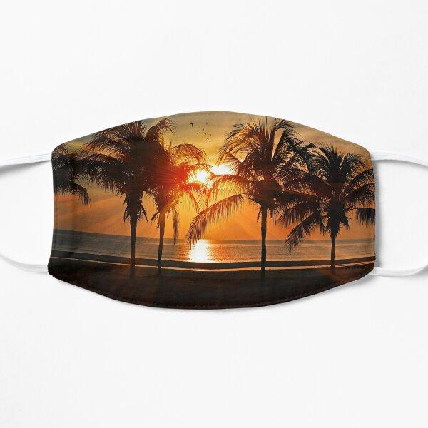 sunset beach palm tree Flat Mask