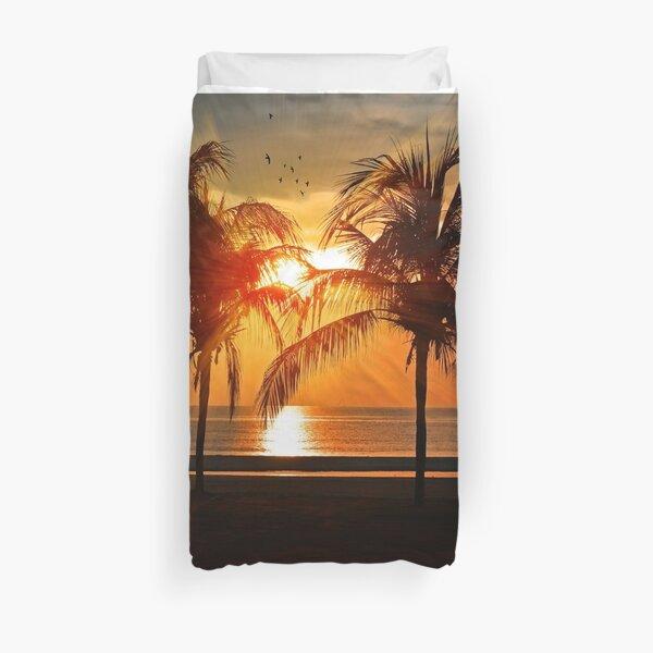 sunset beach palm tree Duvet Cover