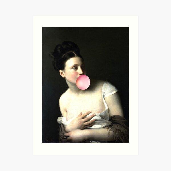 portrait of a lady bubble gum, funny famous painting Art Print