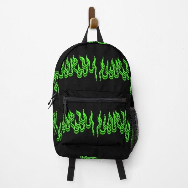 3D Green Flames Backpack