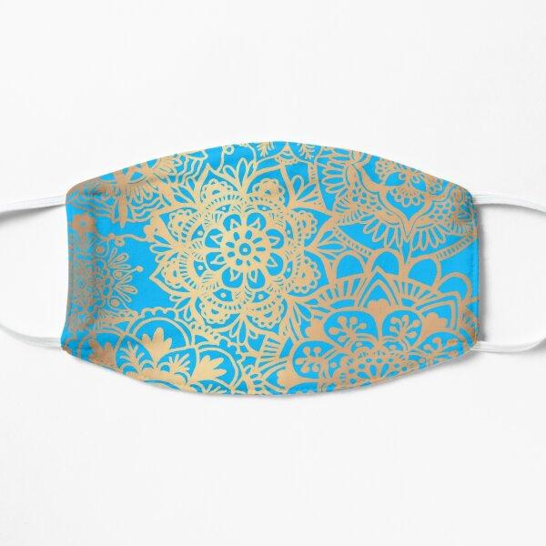 Light Blue and Gold Mandala Pattern Mask