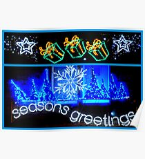 Season's Greetings in Blue Poster