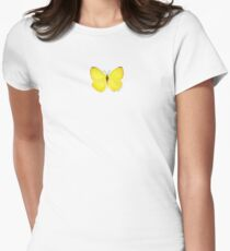 Yellow Butterfly Womens Fitted T-Shirt