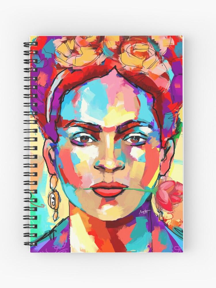 Cahier A Spirale Frida Kahlo Portrait Peinture Pop Art Par Artmailsoncello Redbubble