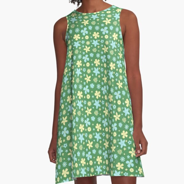 Blue and Yellow Flowers on Green Background A-Line Dress