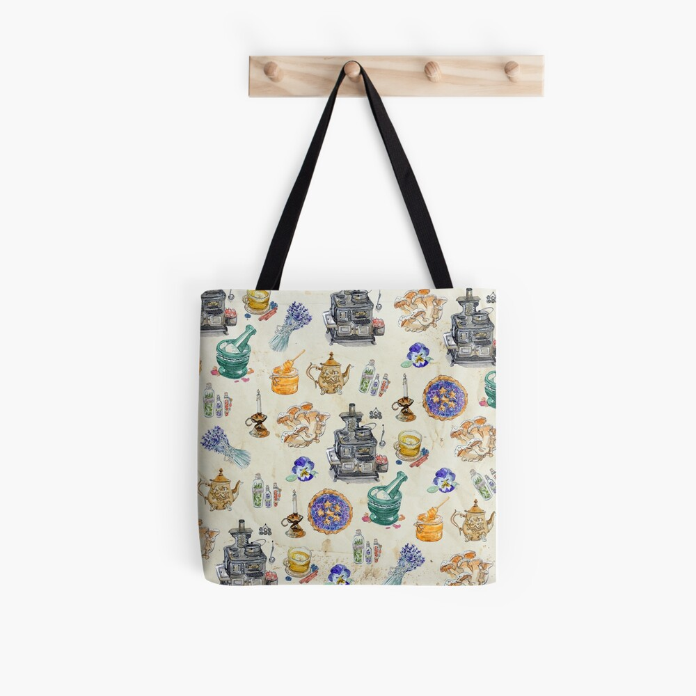 Whimsical Kitchen Witch Pattern on Tea Stained Paper Background Tote Bag