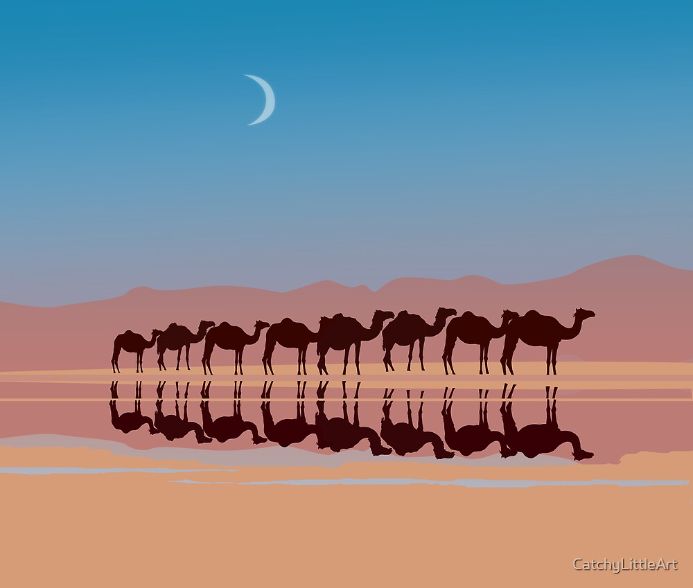 Group of camels walking in sahara by CatchyLittleArt