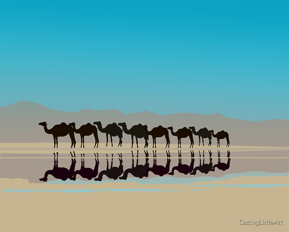 Black camels silhouette in desert by CatchyLittleArt