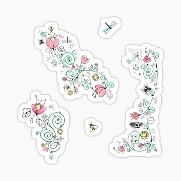 Whimsical Floral Repeating Pattern Sticker