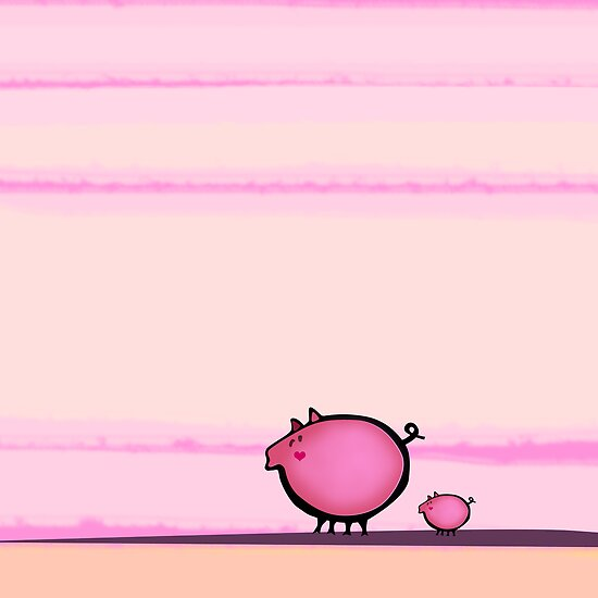 Pig and a baby walking by CatchyLittleArt