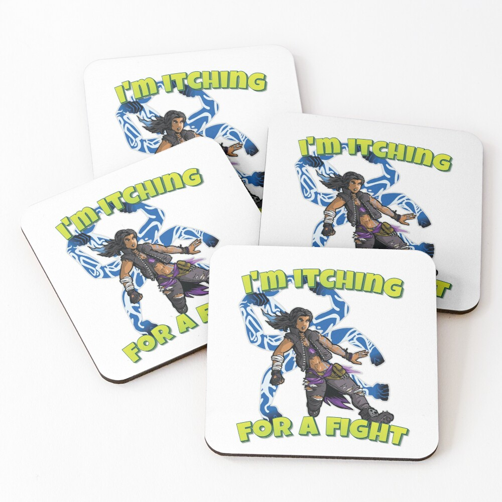 I'm Itching For A Fight Amara The Siren Borderlands 3 The Tiger of Partali Coasters (Set of 4)