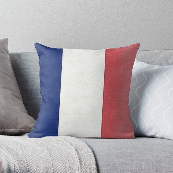 French Tricolor Flag Throw Pillow