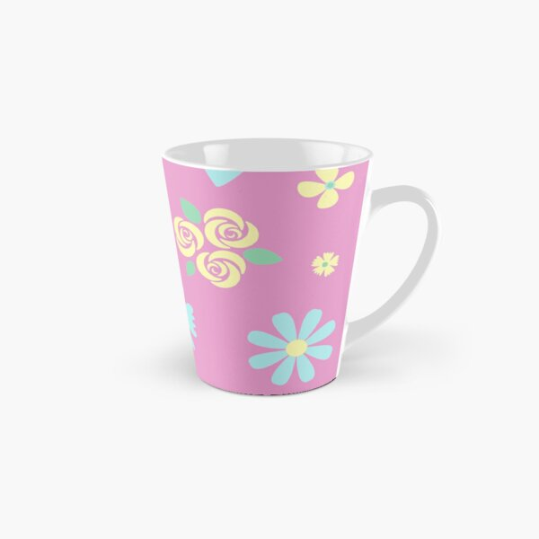 Blue and Yellow Flowers on Pink Background Tall Mug