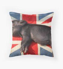 Micro pig sleeping on Union Jack cushion Throw Pillow