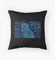 Blue Absract Owl Throw Pillow