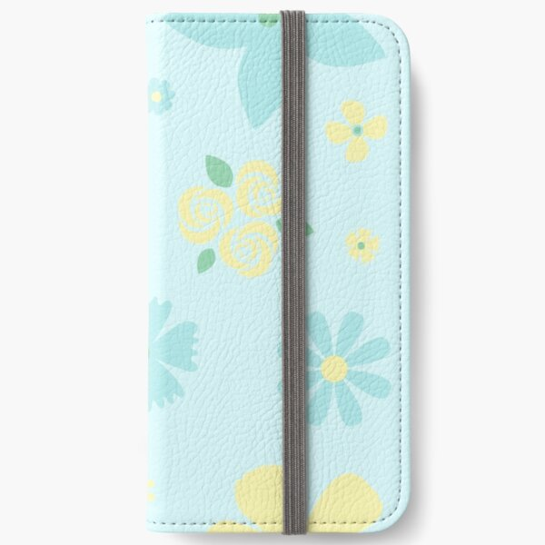 Blue and Yellow Flowers on Baby Blue Background iPhone Wallet