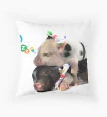 2 MICRO PIGS CUDDLING Throw Pillow