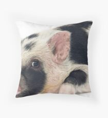 Spotty Micro pig chilling Throw Pillow