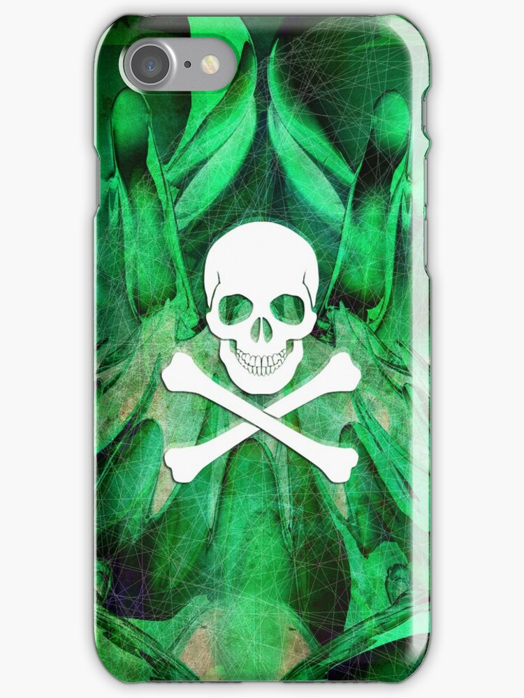 Skull and crossbones  danger warning poison green by mikath