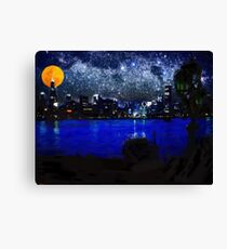 chicago at full moon pastel Canvas Print