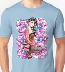 Tattooed Pin Up Girl with Roses Unisex T-Shirt
