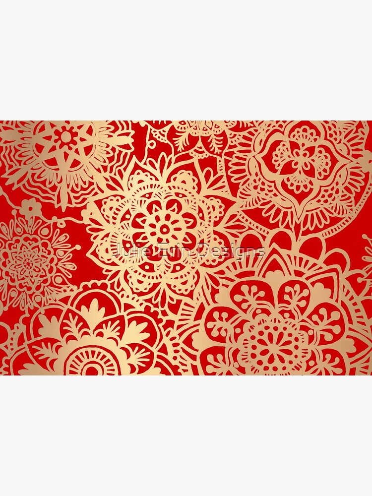 Red and Gold Mandala Pattern by julieerindesign