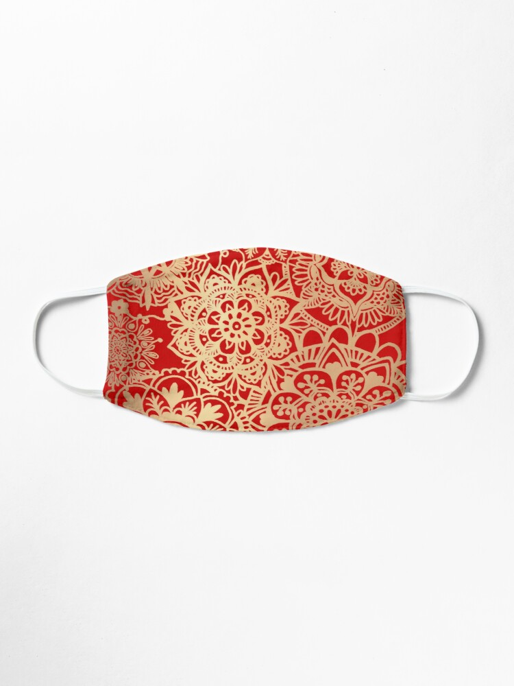 Alternate view of Red and Gold Mandala Pattern Mask